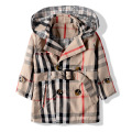 Free shipping spring/fall children clothing double breasted plaid female child trench girl outerwear