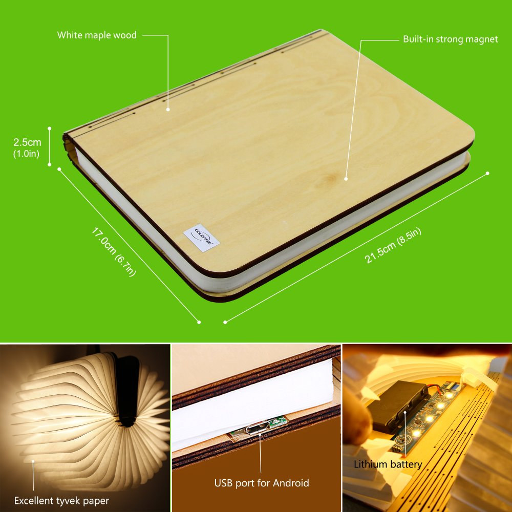 LED Legno di Svolta libri Nightlight USB ricaricabile HA CONDOTTO LA lampada pieghevole libro creativo e 1 pz di Corda In Pelle