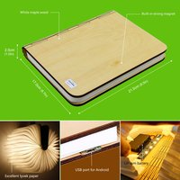 LED Wood Turning books Nightlight USB rechargeable LED folding lamp book creative and 1pcs Leather Rope