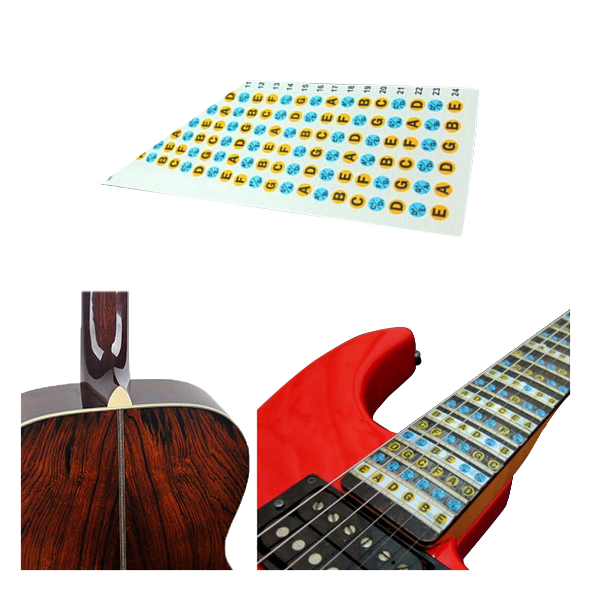 Fast Deliver New Guitar Fretboard Note Decals Fingerboard Frets Map Sticker For Beginner Learner Practice Sports & Entertainment