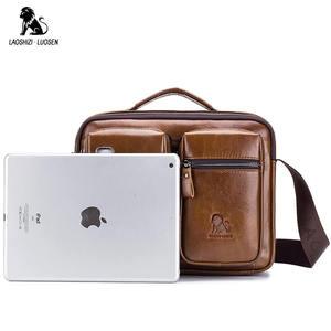 Image 5 - LAOSHIZI Bolso de hombro de cuero genuino bolsos cruzados para hombre bolsa cruzada