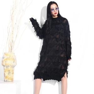 Image 4 - [EAM] 2020 New Spring Autumn Stand Collar Long Sleeve Black Perspective Split Joint Big Size Dress Women Fashion Tide JI78