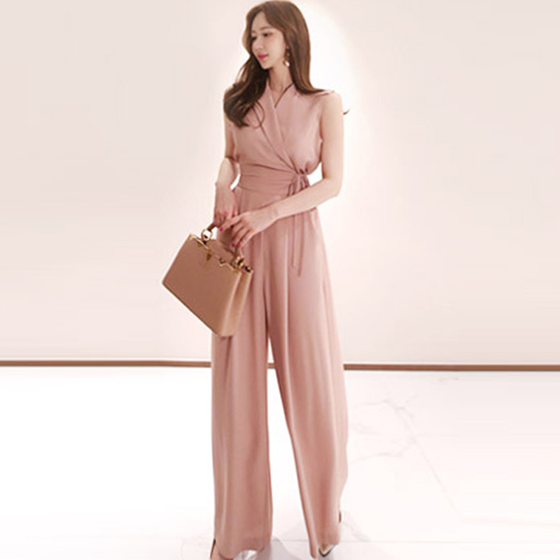 designer fashion sale retailer best selling US $22.89 35% OFF|Summer Sleeveless Notched Office Overalls High Waist Pink  Women Cloth Loose Casual Work Long Jumpsuit-in Jumpsuits from Women's ...
