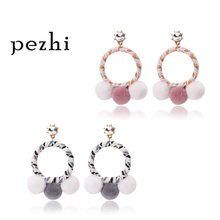 Fashion wild cute trend exaggerated circle literary wind hair ball new style female earrings