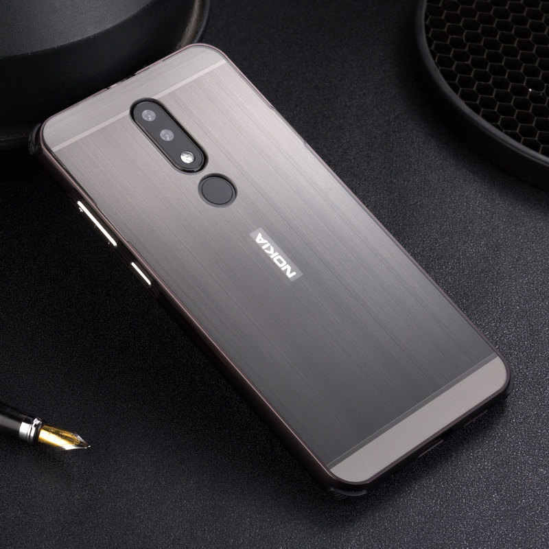 quality design 4da3a 7b217 Luxury Metal Frame Bumper Case For Nokia X5 X6 Brushed Acrylic PC Hard Back  Cover For Coque Nokia 5.1 6.1 Plus Case Coque X6 X5