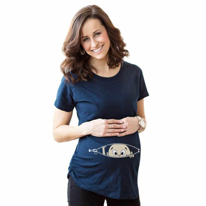 การตั้งครรภ์ตลก T เสื้อสำหรับหญิงตั้งครรภ์ฤดูร้อนผู้หญิงเสื้อยืด Slim การ์ตูน Maternity พยาบาล Tops O - Neck