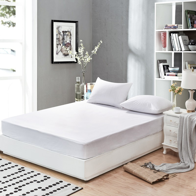 Drop Shipping 100% Polyster Home Hotel White Solid Cheap Fitted Sheet Waterproof Anti Mites Moistureproof Mattress Protector|Bedspread| |  - title=