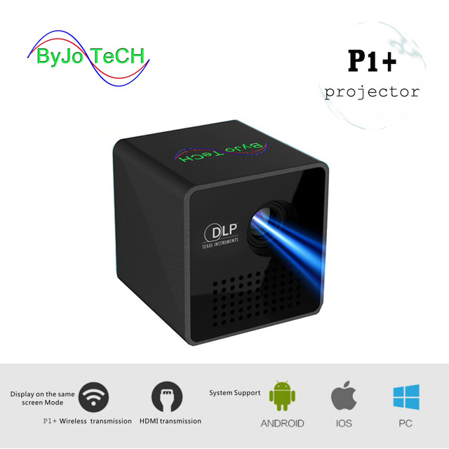 New Price ByJoTeCH P1 Plus Wireless Mobile Projector Support Miracast DLNA Pocket Home Movie Projector Proyector Beamer Battery