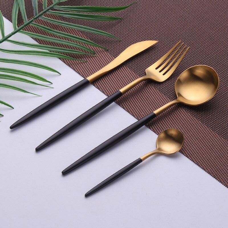 Fourchette couteau ensemble 4 pièces/ensemble or noir vaisselle Kits 18/10 acier inoxydable occidental couverts ensemble cuisine alimentaire vaisselle dîner ensemble