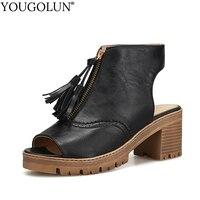 YOUGOLUN Women Sandals Summer Fake Skin Gladiator Thick Heel 6 Cm Tassel High Heels Sexy Ladies