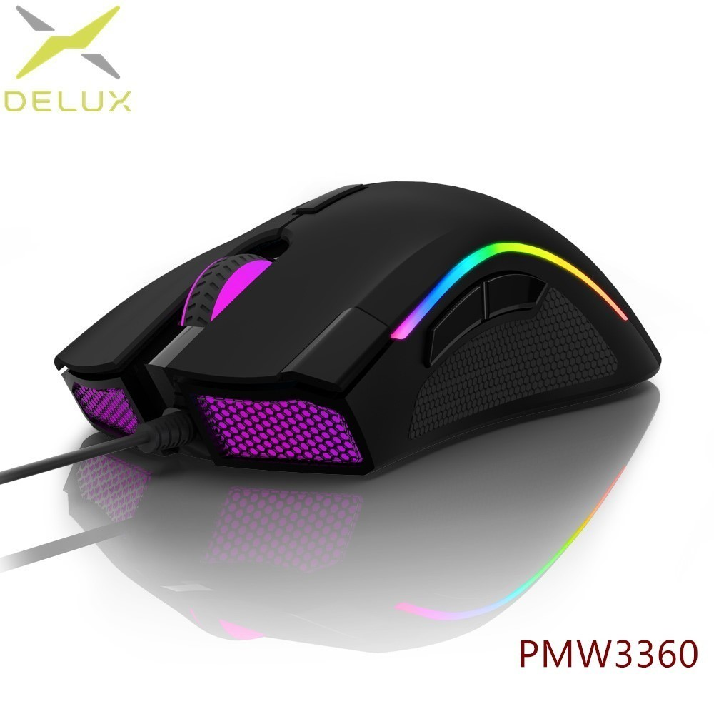 Delux M625PMW3360 RGB Backlight Gaming Mouse 12000 DPI 12000 FPS 7 Buttons Optical USB Wired Mice with Fire Key For LOL PC i rocks im3 we usb 2 0 wired 3500dpi optical gaming mouse w backlight white