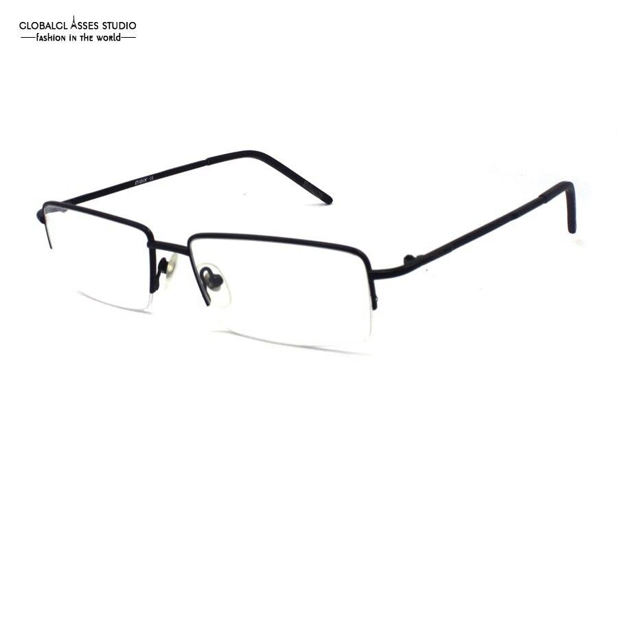 8adb9db6622a7 Óculos de Lente retângulo De Metal Fino Men Preto Brilhante Metade Rim  Eyewear Flexível Luz Único Design de Moldura Dos Vidros Ópticos 1012 C2