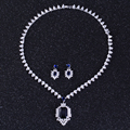 DOKOL Luxury Design Square Zircon Bridal Jewelry Sets White Gold Plated Big CZ Stone Necklace Sets For Wedding DKS0002