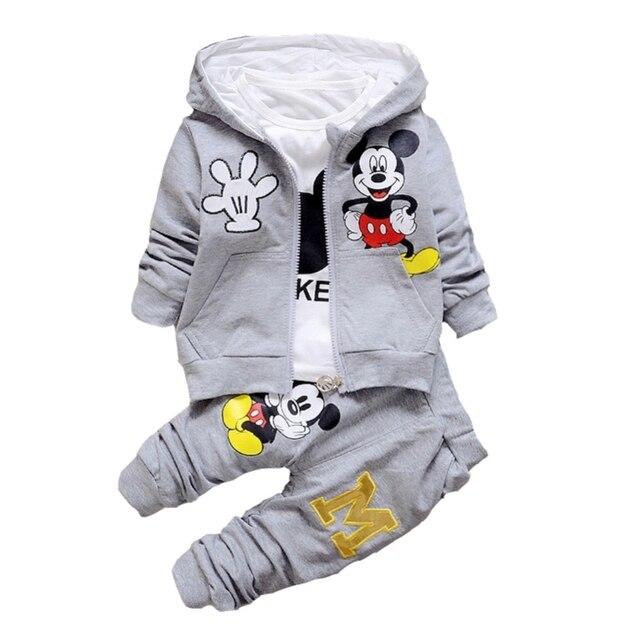 774082cb9 Children Boys Clothes 2017 Winter Girls Clothes Set Mickey Coat+T ...