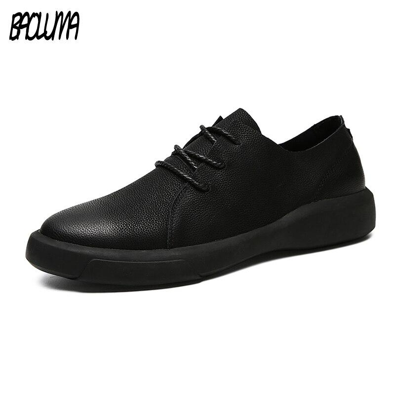 Genuine Leather <font><b>Shoes</b></font> Men Leather Sneakers Flats Design Style Men <font><b>Shoes</b></font> <font><b>Loafers</b></font> Lace Up Walking Casual <font><b>Shoes</b></font> Men Big Size 37-47