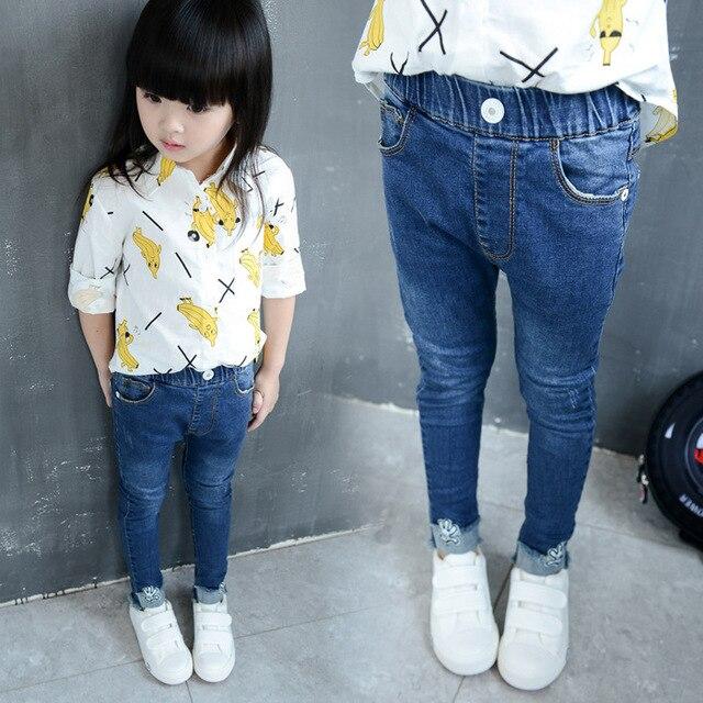 ec6f0042556a9 Odzież dziecięca dziewczyny Elastyczne jeans Koreański styl dziewczyna  maluch jeans Spodnie Farbują mody dzieci Buty dla