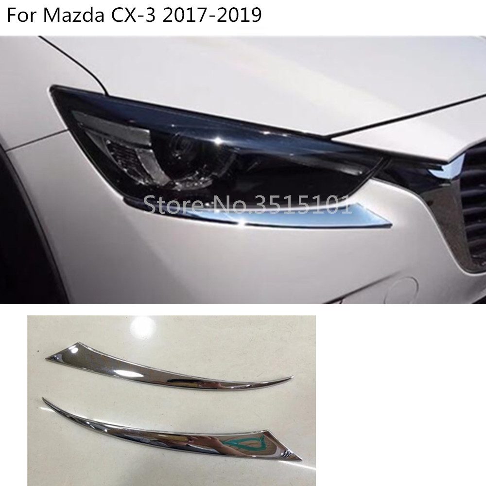 Car front head Light lamp eyebrow hood Molding frame stick ABS Chrome trim 2pcs For <font><b>Mazda</b></font> CX-3 <font><b>CX3</b></font> 2017 2018 <font><b>2019</b></font> image