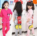 Girls clothing sets children's suit shirt+pants 2pcs autumn models girls suit new sports package printing