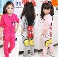 Roupas meninas define terno infantil + calças 2 pcs modelos outono meninas terno novo pacote de esportes impressão