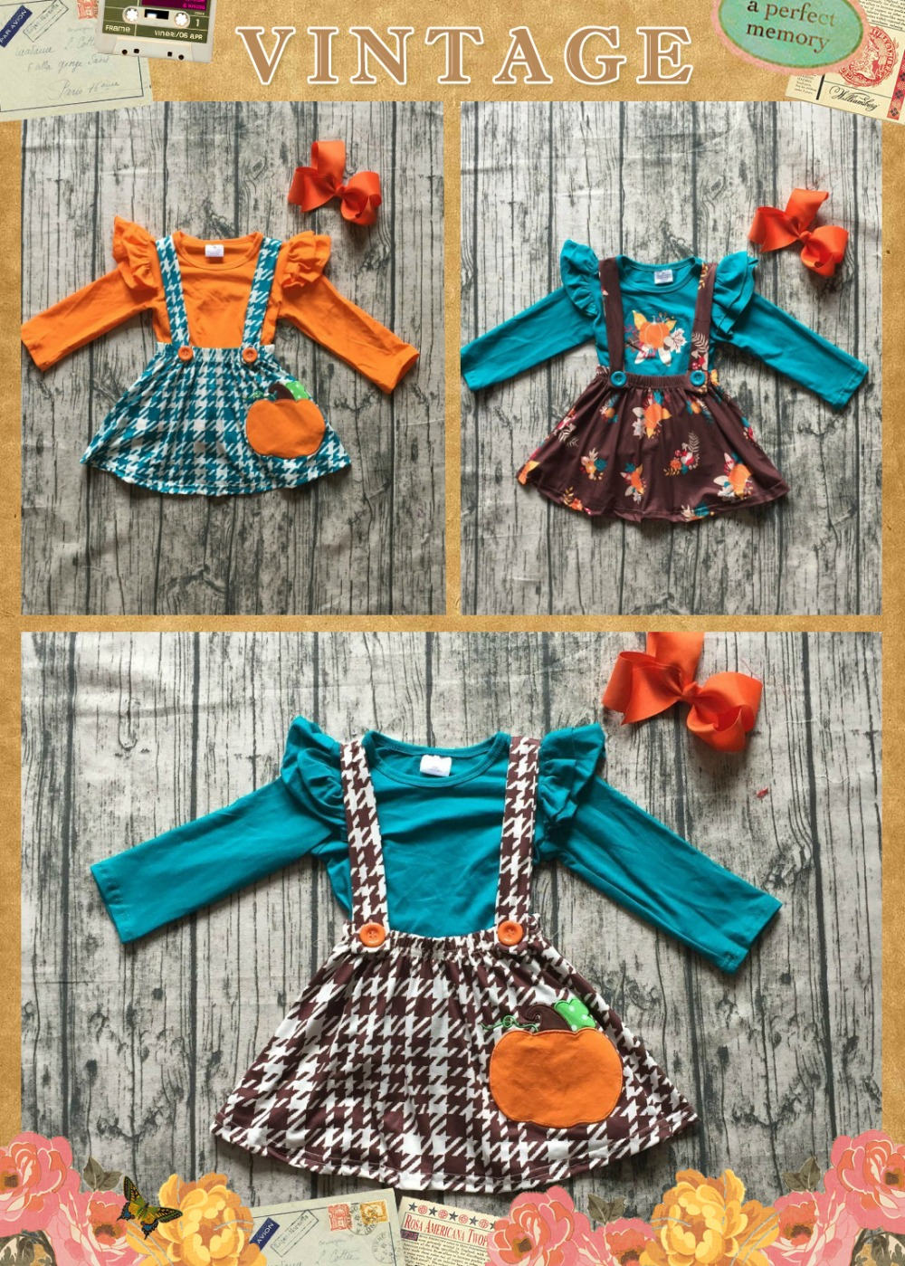 все цены на Thanksgiving fall baby girls clothes cotton jade Aztec pumpkin halter top Button Straps dress boutique flare sleeve match bow