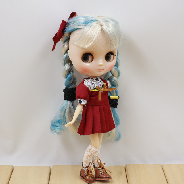 Middie Blythe Doll Red & Deep Blue Dress With Hairpin & Socks