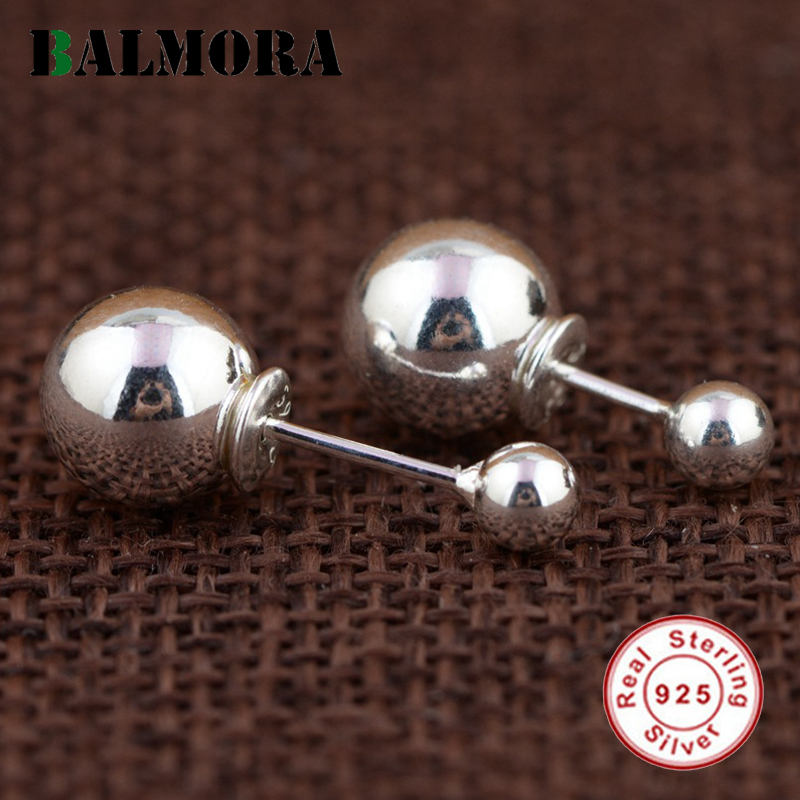 BALMORA 1 Pair Double Ball Earrings 925 Sterling Silver Simple Fashion Stud Earrings for Women Lover Party Gifts Jewelry SY31186