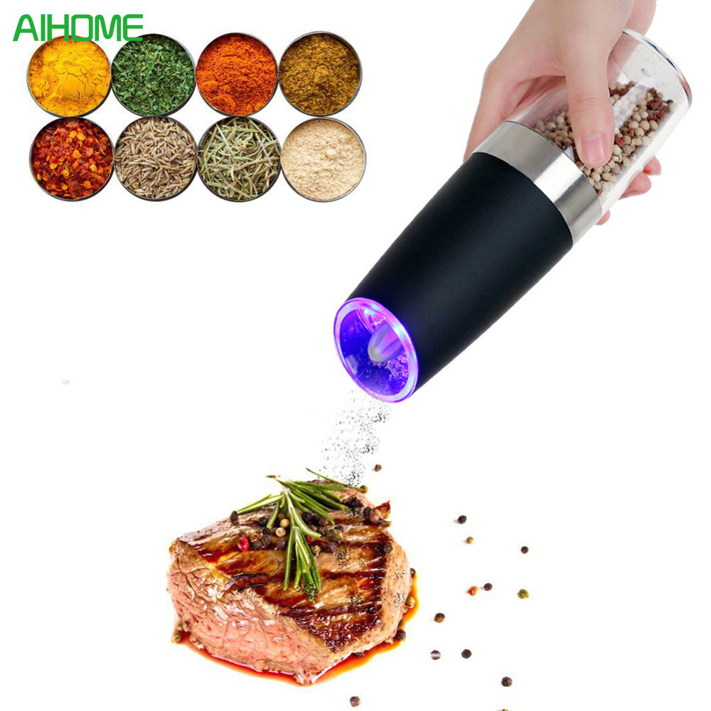 Automatic Electric Gravity Pepper Grinder LED Light Salt Mill Muller BPA Free Kitchen Seasoning Grinding Tool Automatic Mills ...