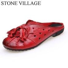 2017 Этническом Стиле Из Натуральной Кожи Женская Обувь Ручной Работы Цветок Горки Плоские туфли народной обычай старинные выдалбливают плоские туфли