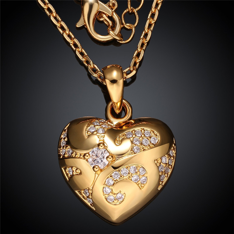 24k yellow goldrose gold color pendant necklace heart shaped with 24k yellow goldrose gold color pendant necklace heart shaped with geometric designs princess cut cz stone necklaces kzcn003 in pendant necklaces from aloadofball Gallery