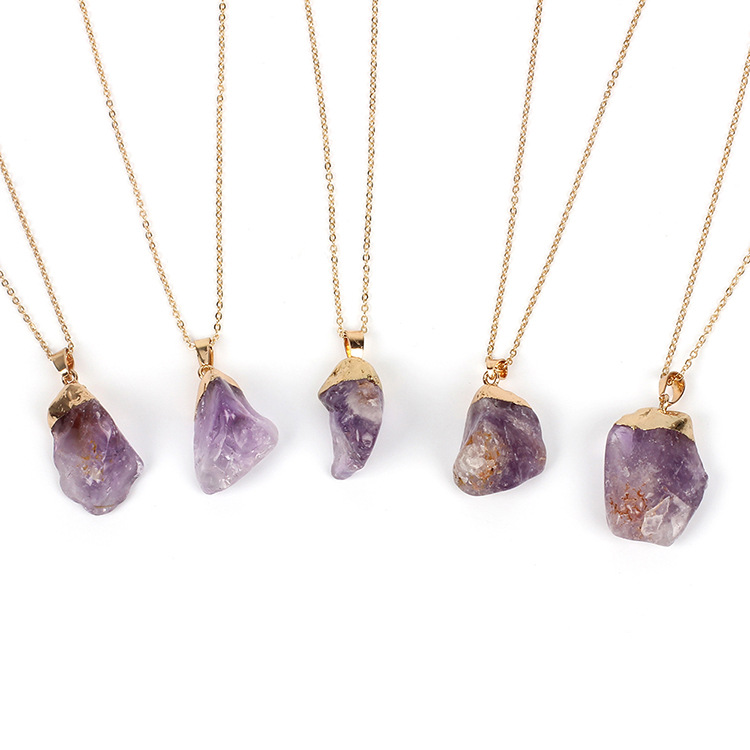 2019 new gold-plated natural amethyst pendant necklace female accessories original stone clavicle chain