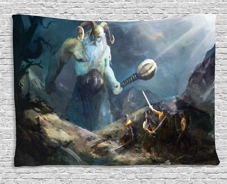 Casque islandais de Couleur Unie de crainte Totem tenture Murale Tapisserie Celtique Viking Bouclier Casque de Terreur Tapisserie runique scandinave Plafond mural-95x73 cm/_Blanc