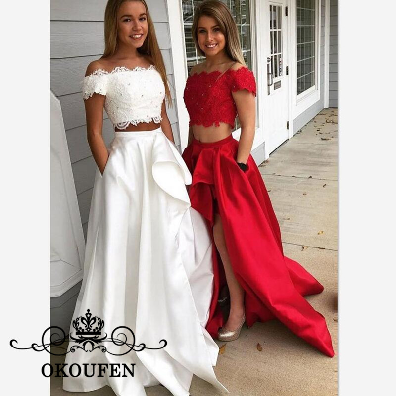 2019 Two Pieces Long Bridesmaid Dresses For Women Boat Neck Side Split A Line Lace Top and Satin Skirt Maid Of Honor Dress Party