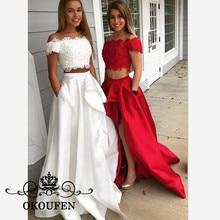 2019 Two Pieces Long Bridesmaid Dresses For Women Boat Neck Side Split A  Line Lace Top 9f687ea86cdc