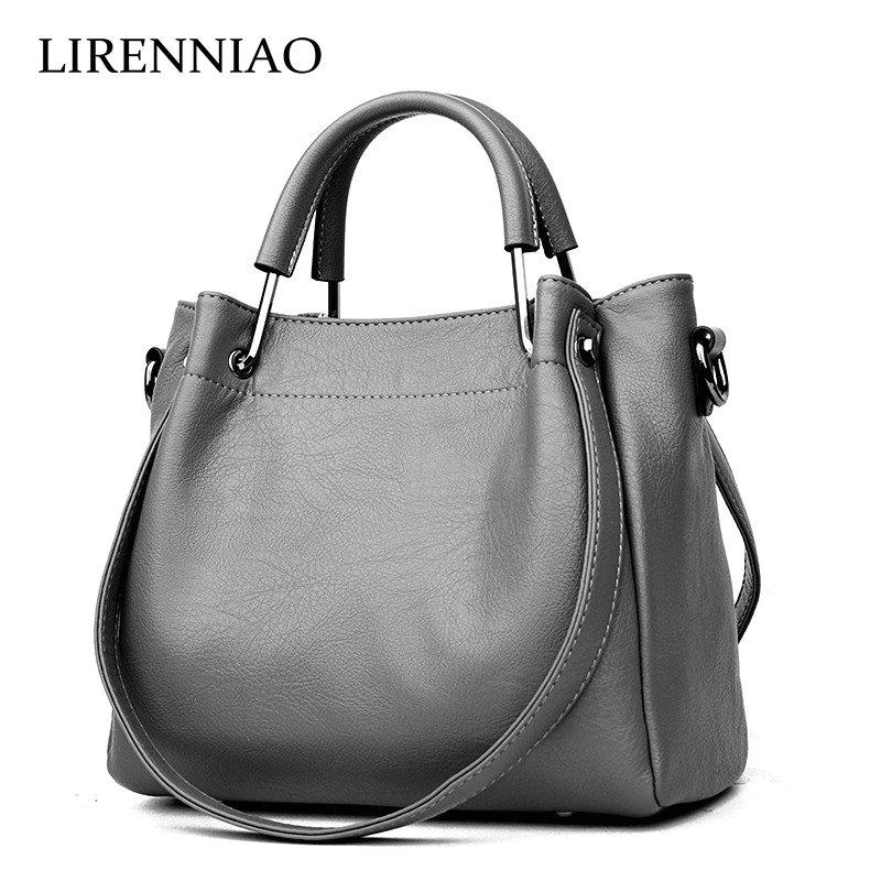 LIRENNIAO Autumn and winter new handbag Genuine Leather Bags Korean fashion shoulder Crossbody soft leather retro bucket bag