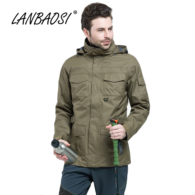 LANBAOSI Outdoor Sports Men's Hiking Windstopper Jackets Thermal Fleece Liner Waterproof Pockets Hooded Outwear Clothing active side pockets hooded design sports hoodies in burgundy