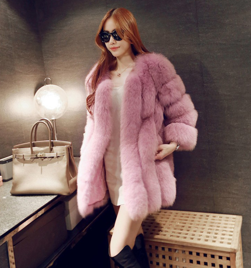 New Fashion Women Winter Faux Fur Coat Elegant Thick Warm Outerwear Medium-Long Fake Fur Jacket S-3XL For Girl Female