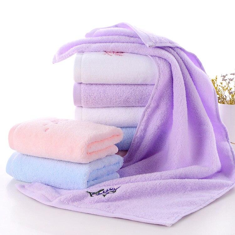 1PC 34*72CM Cotton Solid Color Bath Towels Plush Soft Ultra Absorbent Machine Washable Quick Dry Eco-Friendly Face Towel