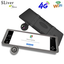 4G 10 IPS Touch Screen Dual Lens Car DVR Camera Auto Bluetooth FM Rearview Mirror Video Recorder GPS Android Navigation #B1192 10 full touch ips car dvr camera rearview mirror gps navigation dual lens automobile wifi android 5 1 4g network video recorder