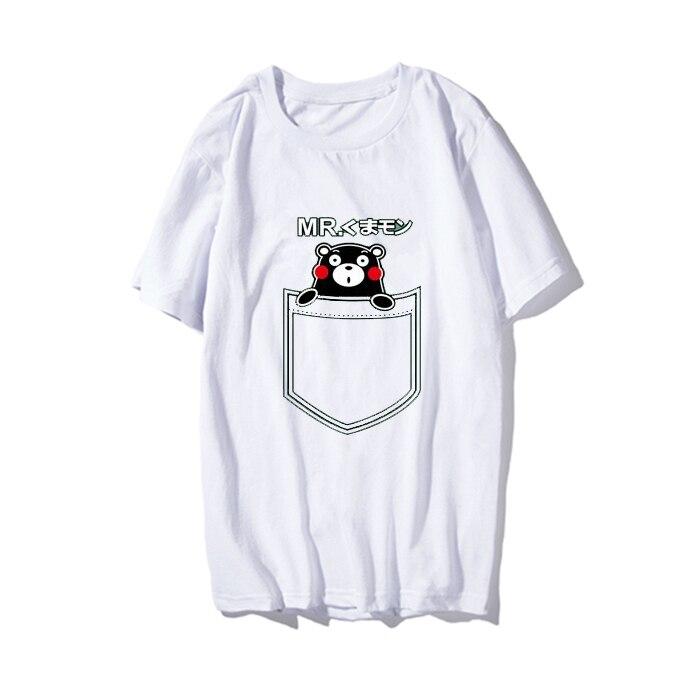 Kpop home Fashion harajuku style pocket Kumamon Unisex Couples tshirrt Man and Womens T lovers clothes