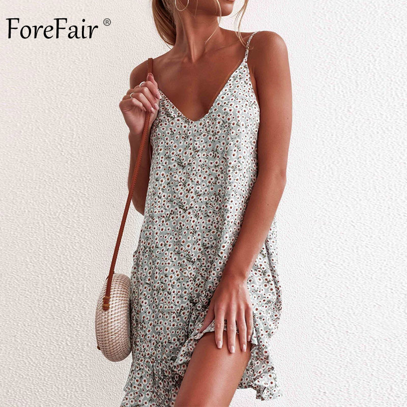 Forefair Summer Sundresses Sexy Boho Beach Spaghetti Strap Backless Casual Holiday Flower Print Ruffle Mini Dress Women