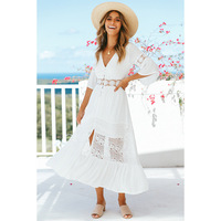 Ordifree 2019 Summer White Lace Tunic Beach Dress Short Sleeve Sexy Split Maxi Chiffon Dress Robe Femme