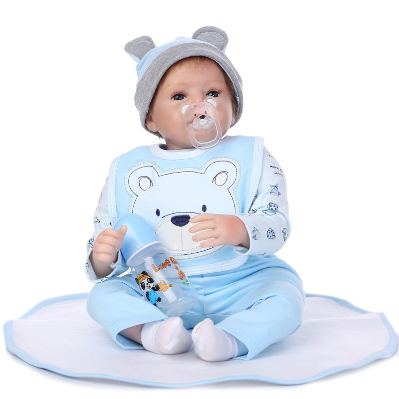 55cm Silicone reborn baby boy doll toy lifelike newborn toddler babies doll  girls bonecas birthday gift present play house toy 880a93eb80d9