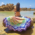Многосторонние Круглый Пляжное Полотенце Кисточкой Тонкий Хлопок Yoga Мандала Одеяло Цветок Печатных Лето Женщин Платок Yoga крышка Свет Мат