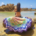 Multilateral Round Beach Towel Tassel Thin Cotton Yoga Mandala Blanket Flower Printed Summer Women Shawl Yoga cover Light Mat