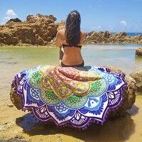 Toalla de playa de la borla de la ronda multilateral de algodón fino yoga mandala cubierta manta impresa flor del verano del mantón de las mujeres de yoga alfombra de luz