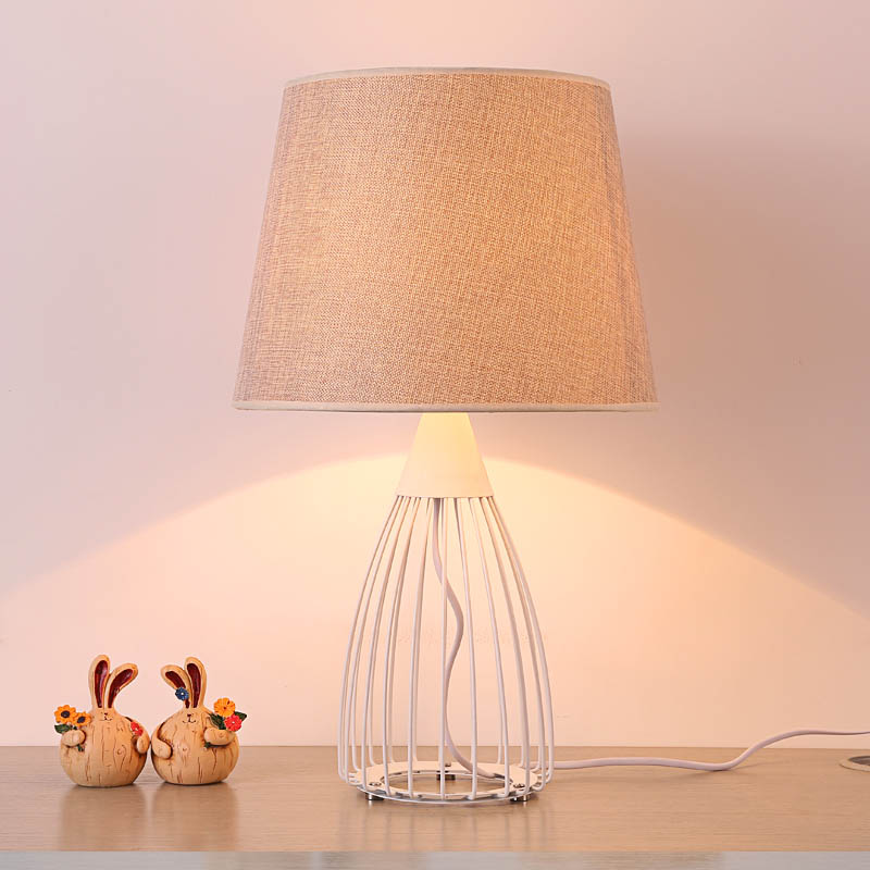 Simple cloth+iron table lamps romantic wedding gift bedroom bed lamp warm living room lighting decorative table lights ZA FG896 romantic rose decoration red blue pink table lamp creative holiday gift living room bedroom lighting desk lamps za927525