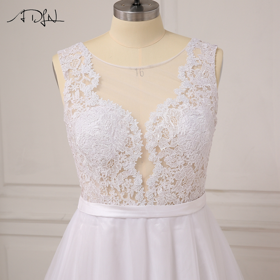 ADLN Plus Size White Wedding Dresses New Sexy Scoop Tulle Appliques Beach Boho Bride Dress Long Ivory Wedding Gowns Custom 7