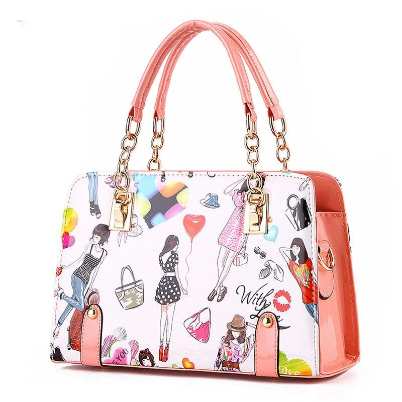Women PU Leather Cute Handbags Vintage Zipper Shoulder Bag Top-handle Bags color