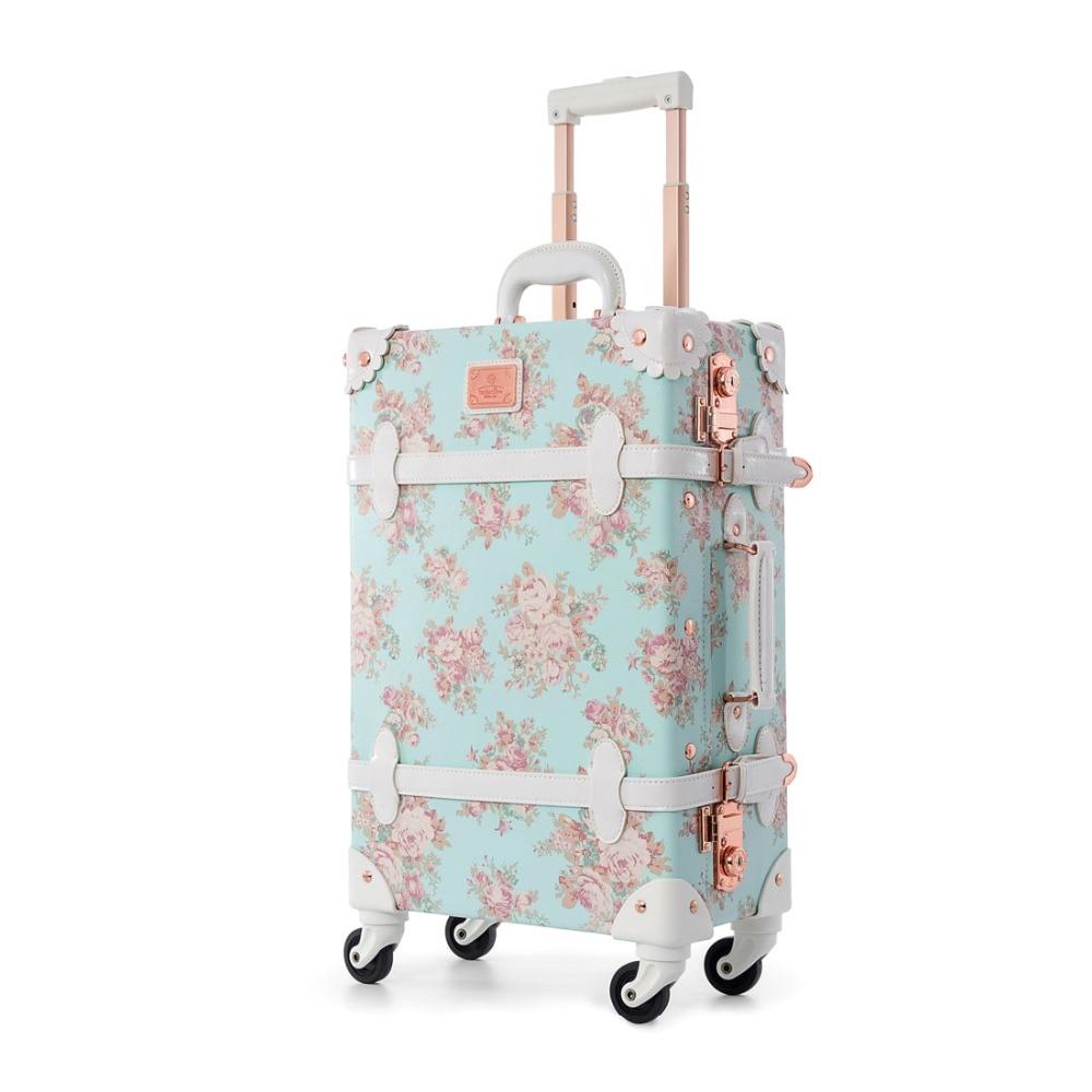 """22 """"24"""" Spinner Räder Retro Pu Leder Blau Floral Koffer Frauen Stamm Tsa Vintage Gepäck Roll Tragen Auf Koffer Für Mädchen Up-To-Date-Styling"""