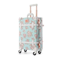 22 24 Spinner Wheels Retro Pu Leather Blue Floral Suitcase Women Trunk TSA Vintage Luggage Rolling Carry On Suitcase for Girls